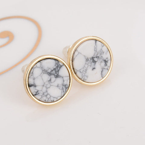 New Hot Trendy Geometric Design Marbled Stone Stud Earrings