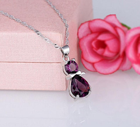 New Fashion Cute Crystal Cat Pendant Necklace