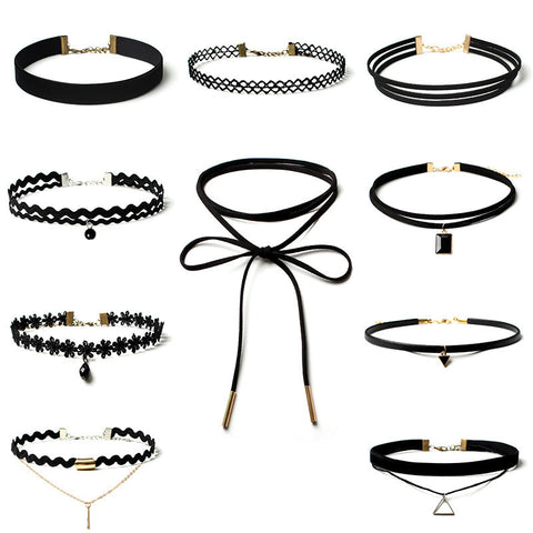 New Fashion Great Deal 10 Pieces Set, 10 Different Looks Black Lace, Velvet, Rope Stretch Choker Style