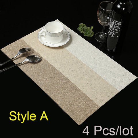 New Contrast Color Stripe Pattern Set of 4 Table Mats Bowl Pads Slip Resistent Dinning And Kitchen Tool