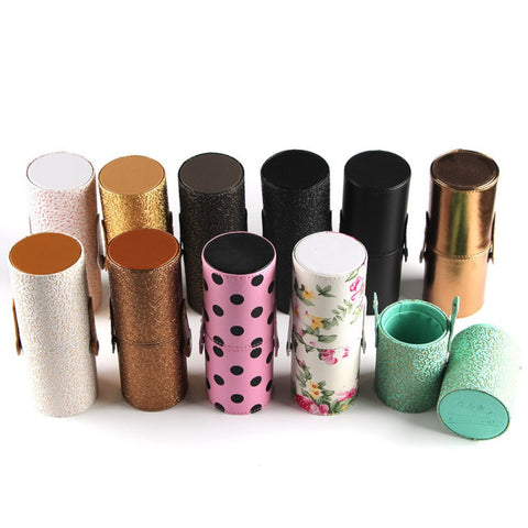 New Makeup Brush Round Holder Cosmetic Tool PU Leather Case Organizer