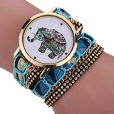 New Fashion Trendy Cute Elephant Watch With Weave Wrap Bracelet Watch