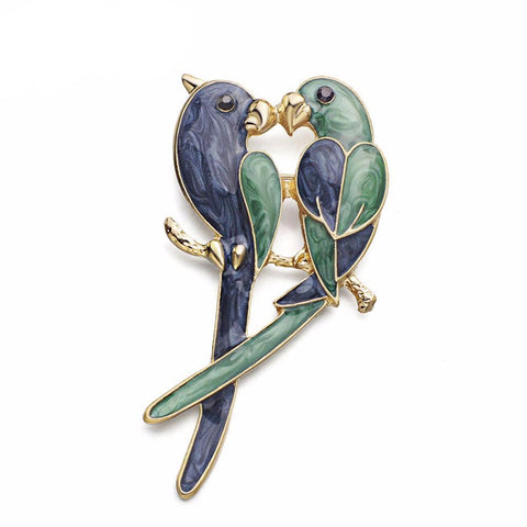 New Adorable Love Birds Enamel Brooch