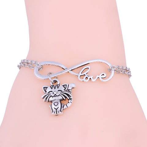 New Cute Unisex Smiling Cat, Love, Infinity Link Chain Bracelet
