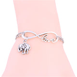 New Cute Unisex Elephant, Love, Infinity Link Chain Bracelet