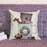 New Super Cute Cat Print Decorative Throw Pillow Cushion Covers For Sofas Home Decor