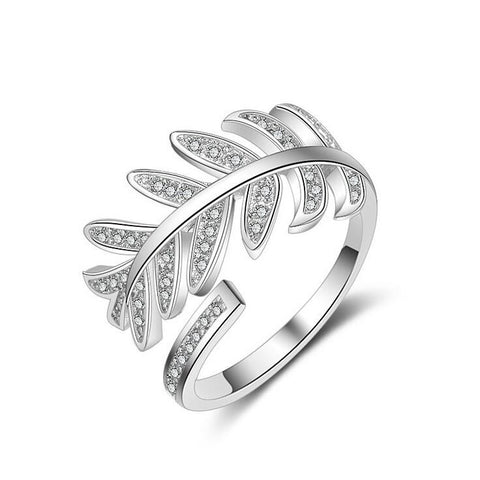 High Quality New Fashion Leaf Design Re-sizable Ring With Crystals