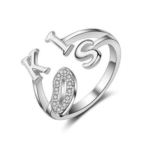 Hot New Arrival Fashion Re-sizable Ring For Women With Zircon And Letters KISS