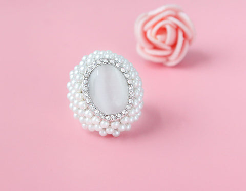 New Hot Arrival Pearl And Crystal Ring For Women