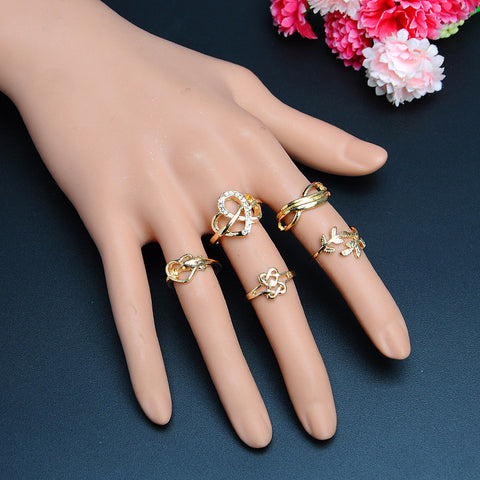 New Fashion Heart Leaf Stylish Rings With Rhinestones Set Of 5 pieces