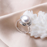 New Elegant Very High Quality Flower Shape Crystal Pearl Adjustable Ring