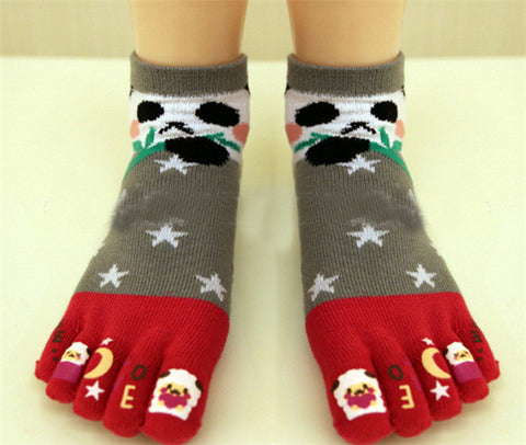 New Arrival Cute 5 Toes Panda Star Print Casual Ankle Socks