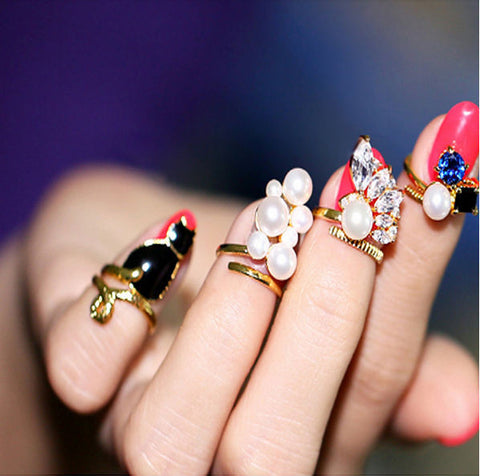 New Hot Style Cat, Zircon, Simulated Pearls Rings Set Of 4 Rings Adjustable Nail Rings