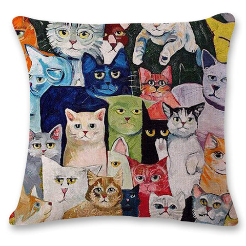New Cat Pattern Throw Pillow And Cushion Covers For Sofas Home Decor