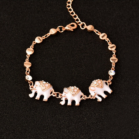 New Fashion Super Cute And Elegant Black And White Elephant Bracelet