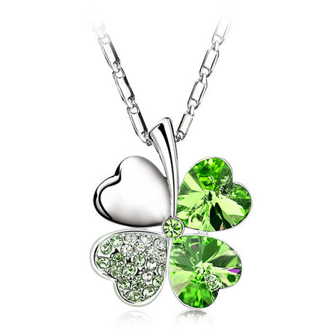 New Sweetheart Clover Crystal Pendant Necklace