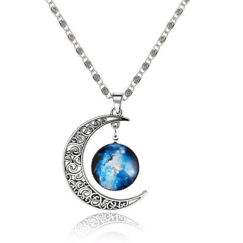Lovely Galaxy Nebula Space with Alloy Hollow Moon Chain Pendant Necklace Platinum Plated