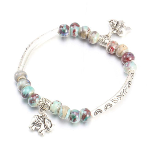 New Two Sided Ceramic Beads Bracelet With Pretty Charms