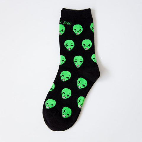 New Fashion Unisex Cute And Funny Cat And Alien Casual Halloween Socks
