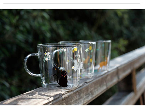 New Cute And Beautiful Cat And Animal Transparent Glass Coffee Mugs