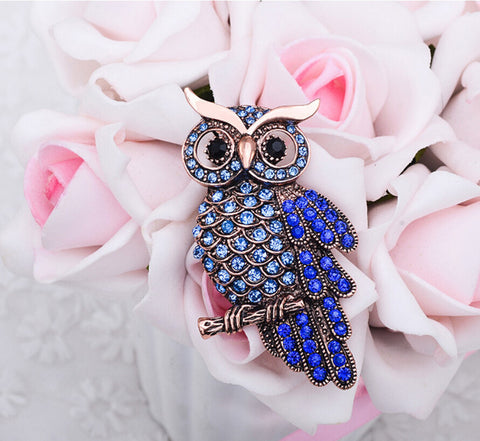 New Hot Unisex Charming Crystal Owl Brooch
