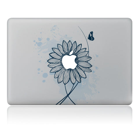 New Pretty Flower Butterfly Protective Vinyl Sticker Decal Foe Mac-book 11, 12, 13 and  15 inch