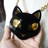 Black Cat With Shining Eyes Acrylic Pendant Necklace
