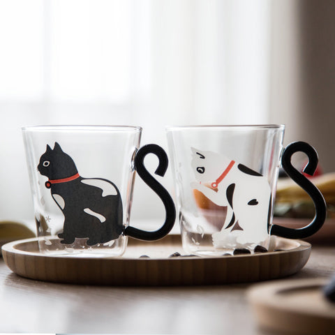 New Super Cute Black, White Cat With Tail Handle Transparent Glass Coffee Mug