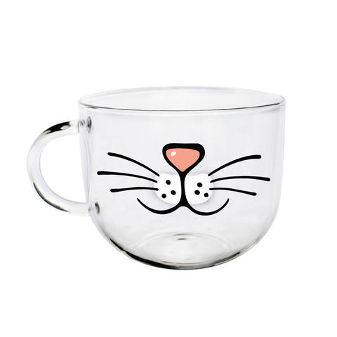 New Cute Smiling Cat Face Transparent Glass Coffee Mug