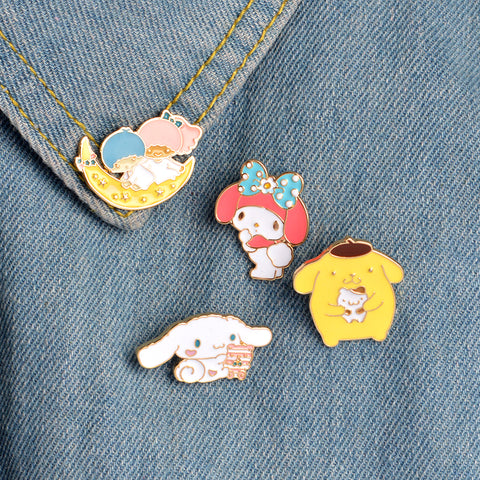 New Cute 4 Pieces Set Enamel Brooch