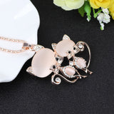 New Trendy Cute Cat Pair Long Chain Crystal Pendant Necklace