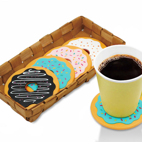 New Colorful Set of 4 Donut Coasters Cup Mats Tableware Home Decor