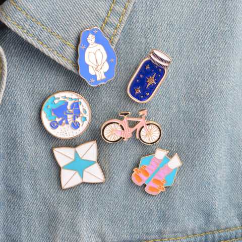 New Cute Set Of 6 Enamel Brooches
