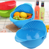 New 2 in 1 Practical Vegetable Basin Wash Rice Sieve Fruit Bowl Fruit Basket Kitchen Tool