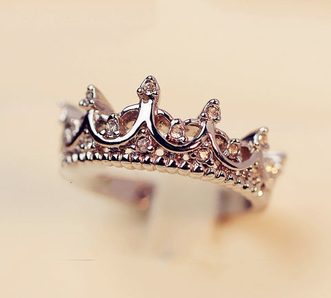 New Hot Style Elegant Crystal Crown Ring
