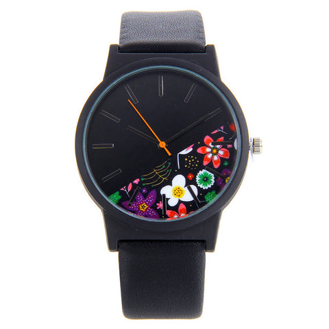 New Fashion Half Black Half Floral Design Casual Sports Watch