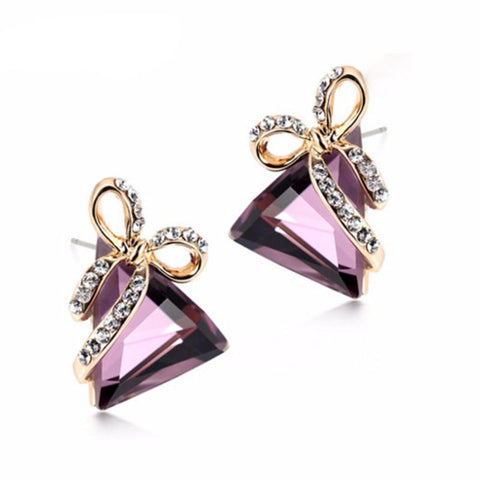 New Fashion Trendy Crystal Triangle Bow Stud Earrings