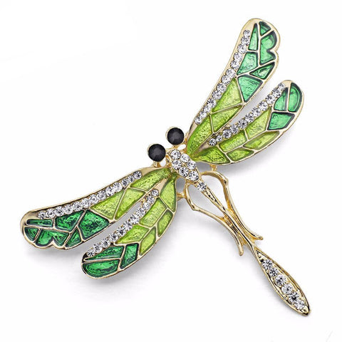 New Beautiful Crystal And Enamel Dragonfly Brooch