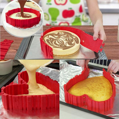 New Heart/ Circle Shape 4 Pieces Silicone Mold For Cakes/ Pastry Baking Kitchen Tool