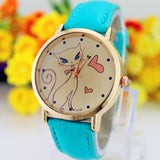 Fashion Women Analog Quartz Cat Wrist Watch Faux Leather Strap
