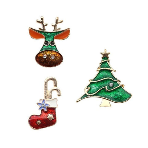 New Fashion Set Of Three Holiday/Christmas Theme Enamel Brooches