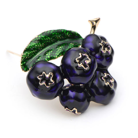 New Trendy Enamel Blueberry Brooch