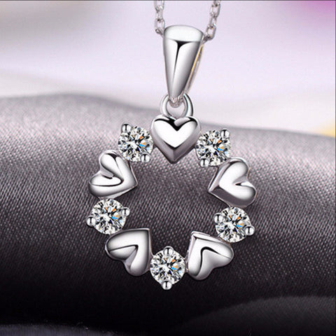 New Hot Fashion Flower Heart Pendant Necklace Silver Plated Water-Wave Chain Jewelry for Women Gifts