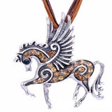 New Beautiful Crystal Pegasus Horse Necklace Pendant With Ribbon Rope
