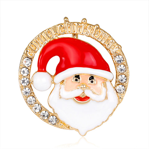 New Enamel And Rhinestone Santa Claus Brooch