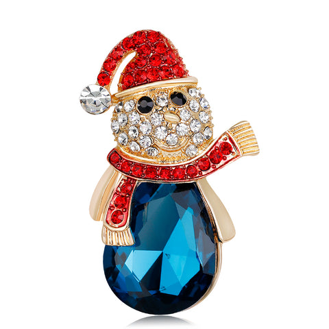 New Exqusite Crystal Snowman Christmas Theme Brooch