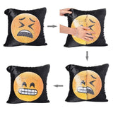 New Face Changing Emoji Decorative Sequins Sofa Cushions, Cushion Cover