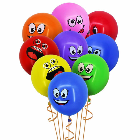 New Set of 10 Cute Big Eyes Smiley/ Funny Faces Party Decorations Balloons Home Decor