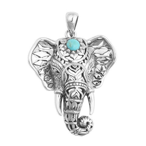 New Ethnic Style Turquoise Elephant Pendant Necklace