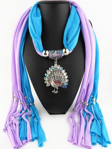 New Rainbow Multicolor Rhinestone Peacock Long Polyester Tassel Women Scarves Pendant Necklace